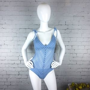 Other - NWT Robin Piccone blue mesh one-piece swimsuit
